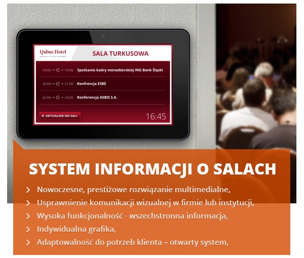 System Informacji o Salach - tablet przy sali